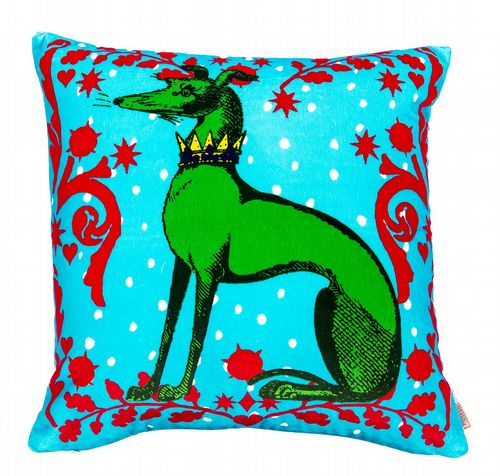 Cotton Velvet Cushion - Hounds